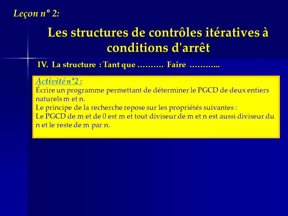 IV. La structure : Tant que ………. Faire ………... Activité n°2 : Écrire un programme permettant de déterminer le PGCD de deux entiers naturels m et n. Le