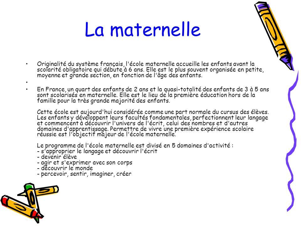 La maternelle Originalité du système français, l'école maternelle accueille les enfants avant la scolarité obligatoire qui débute à 6 ans. Elle est le