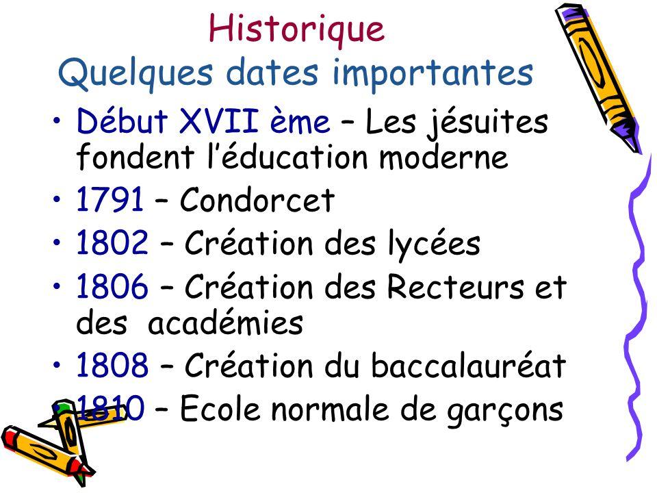 Historique Quelques dates importantes Début XVII ème – Les jésuites fondent léducation moderne 1791 – Condorcet 1802 – Création des lycées 1806 – Créa