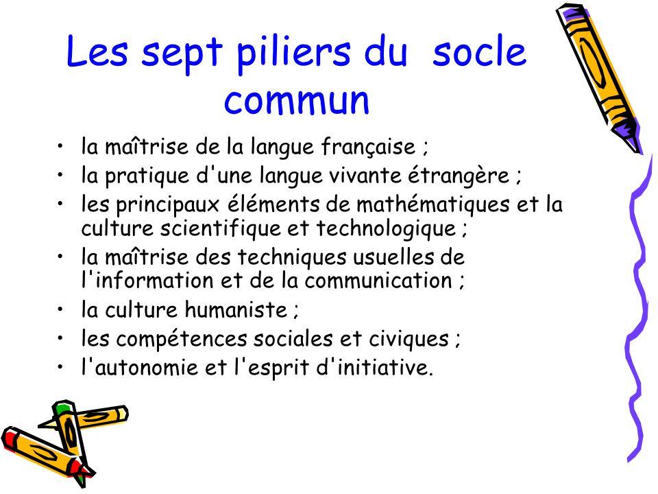 Les sept piliers du socle commun la maîtrise de la langue française ; la pratique d'une langue vivante étrangère ; les principaux éléments de mathémat