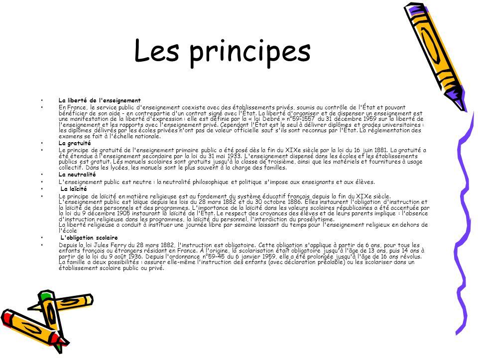 Les principes La liberté de l enseignement En France, le service public d enseignement coexiste avec des établissements privés, soumis au contrôle de l État et pouvant bénéficier de son aide - en contrepartie d un contrat signé avec l État.