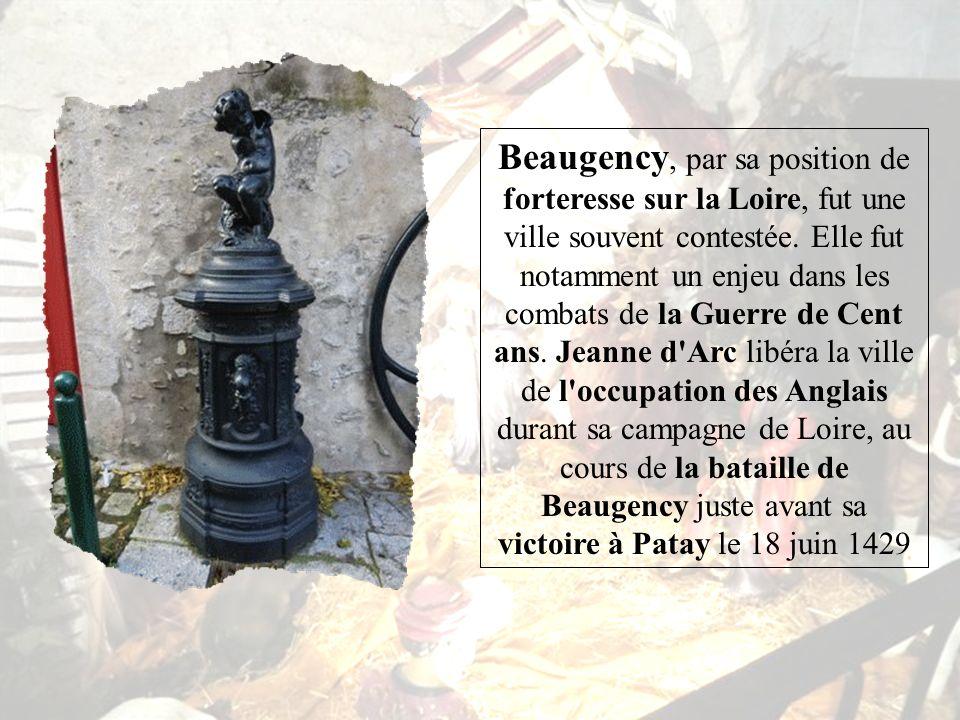 Beaugency est une commune française située dans le département du Loiret et la région Centre Ses habitants sont appelés les Balgentiens 1. 1 La commun