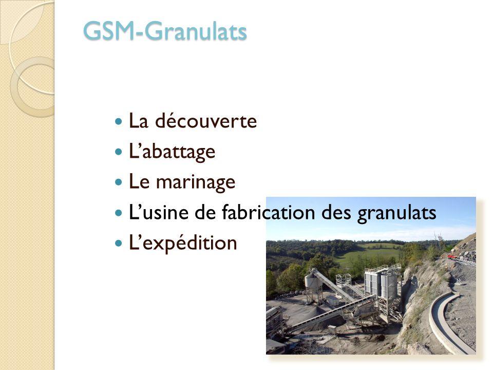 La découverte Labattage Le marinage Lusine de fabrication des granulats Lexpédition GSM-Granulats