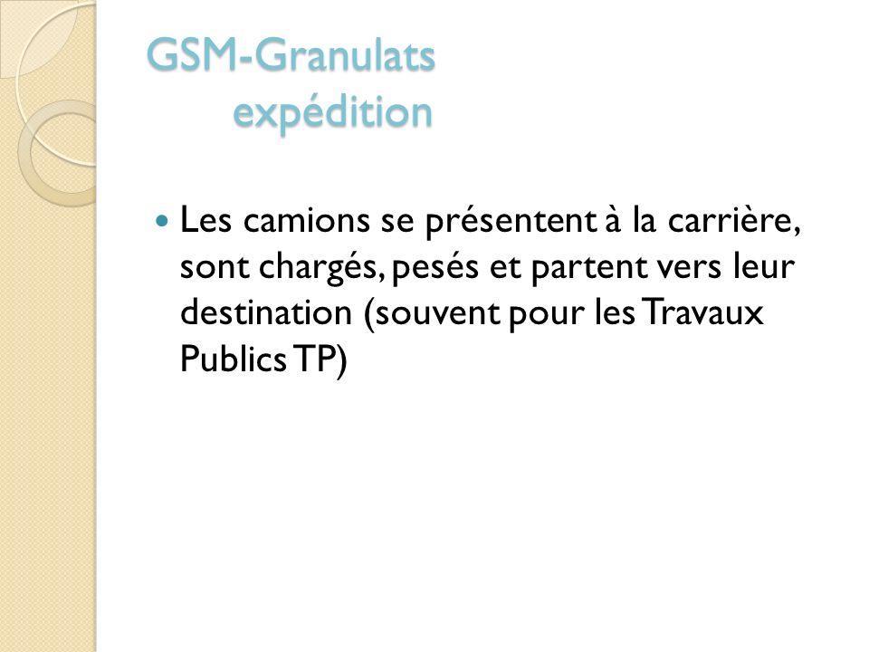 GSM-Granulats expédition Les camions se présentent à la carrière, sont chargés, pesés et partent vers leur destination (souvent pour les Travaux Publi