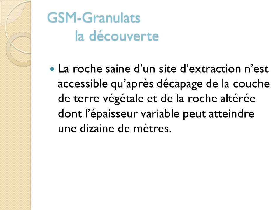 GSM-Granulats la découverte La roche saine dun site dextraction nest accessible quaprès décapage de la couche de terre végétale et de la roche altérée