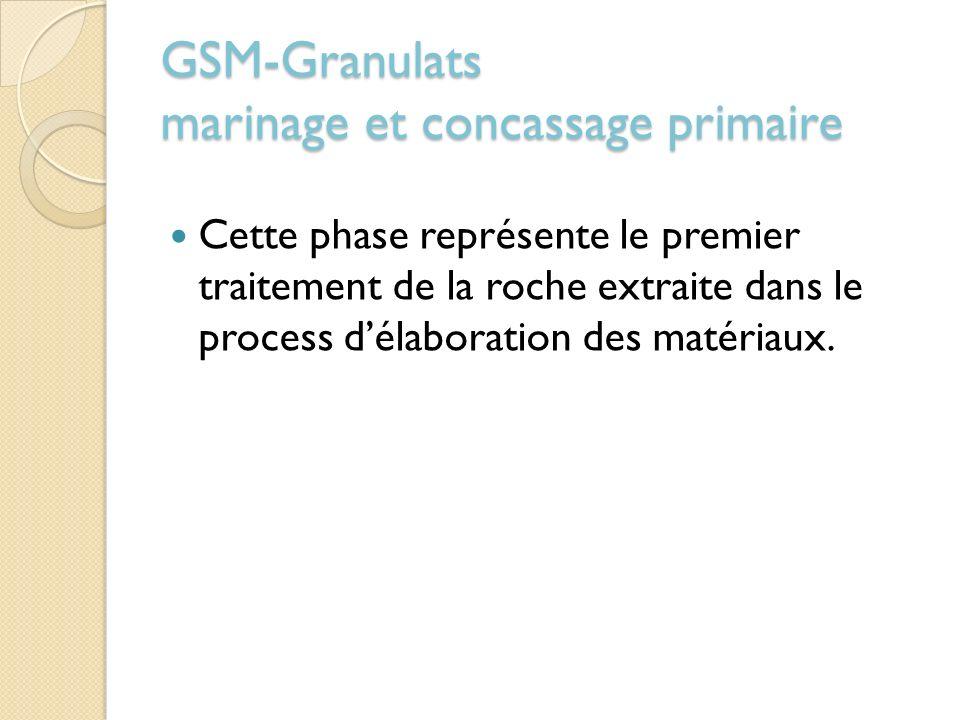 GSM-Granulats marinage et concassage primaire Cette phase représente le premier traitement de la roche extraite dans le process délaboration des matér