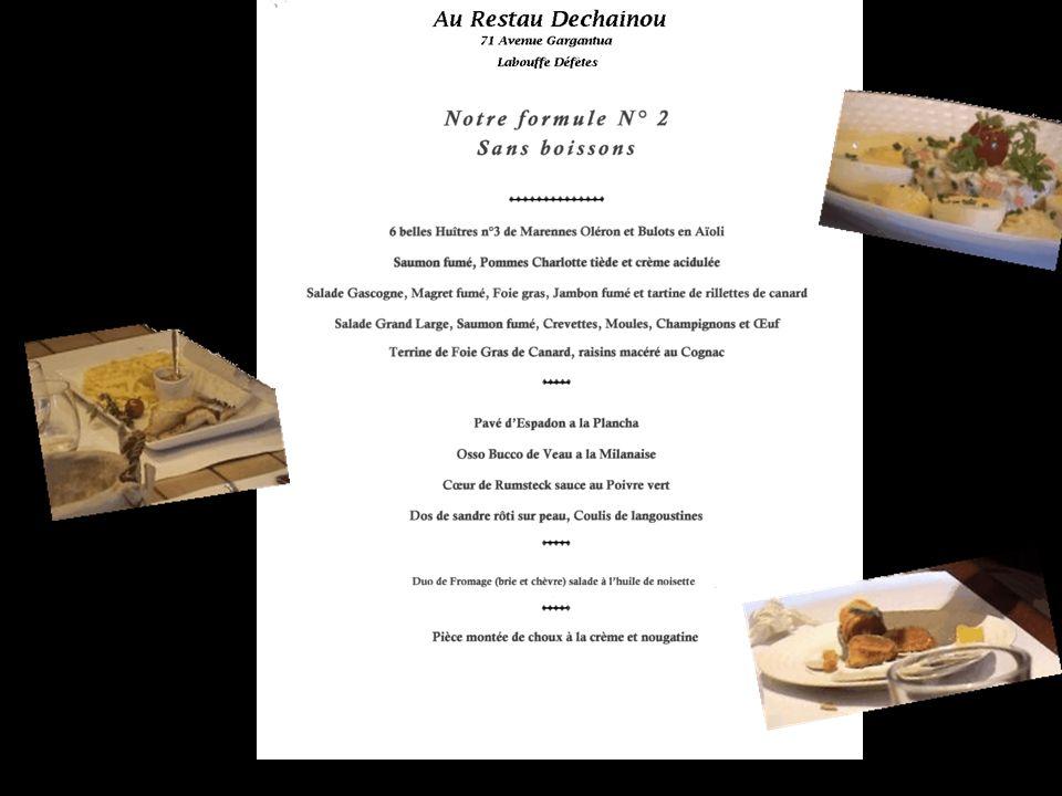 Chaque invité pouvait choisir son menu parmi les plats indiqués sur une liste.