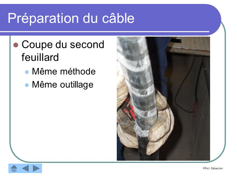 Préparation du câble Coupe du second feuillard Même méthode Même outillage PRAX Sébastien