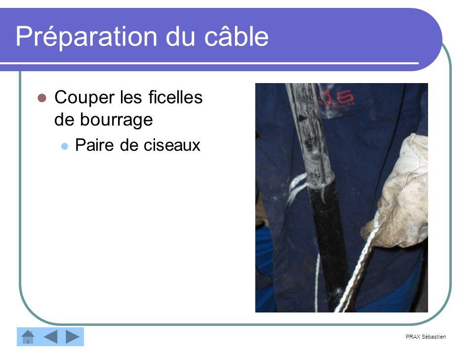 Préparation du câble Couper les ficelles de bourrage Paire de ciseaux PRAX Sébastien