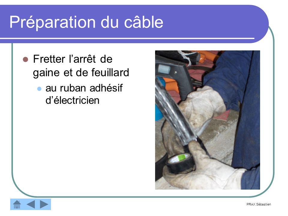 Préparation du câble Fretter larrêt de gaine et de feuillard au ruban adhésif délectricien PRAX Sébastien
