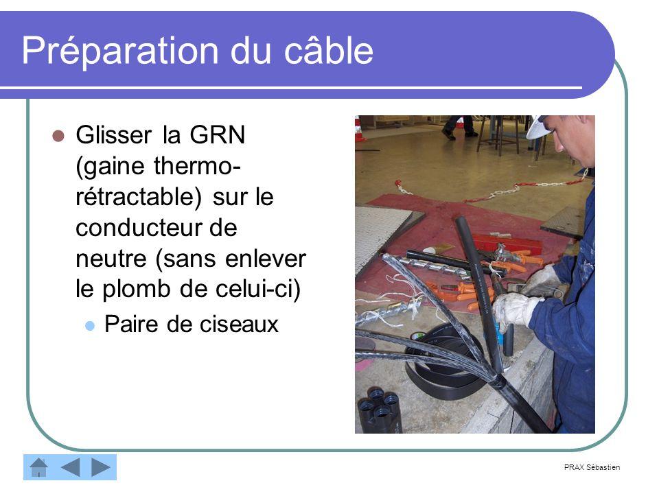 Préparation du câble Glisser la GRN (gaine thermo- rétractable) sur le conducteur de neutre (sans enlever le plomb de celui-ci) Paire de ciseaux PRAX