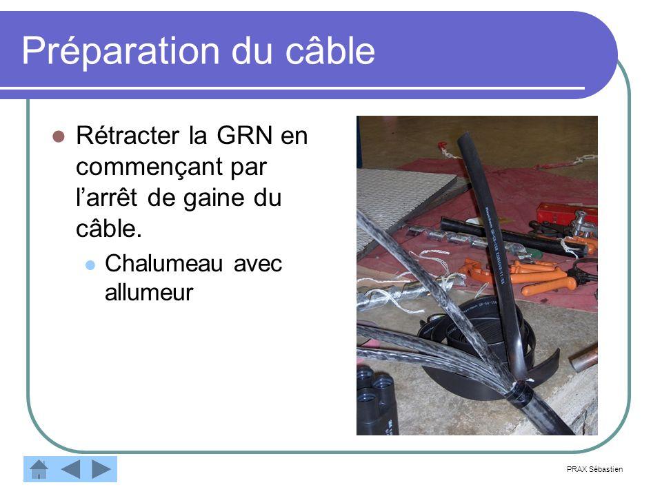 Préparation du câble Rétracter la GRN en commençant par larrêt de gaine du câble. Chalumeau avec allumeur PRAX Sébastien