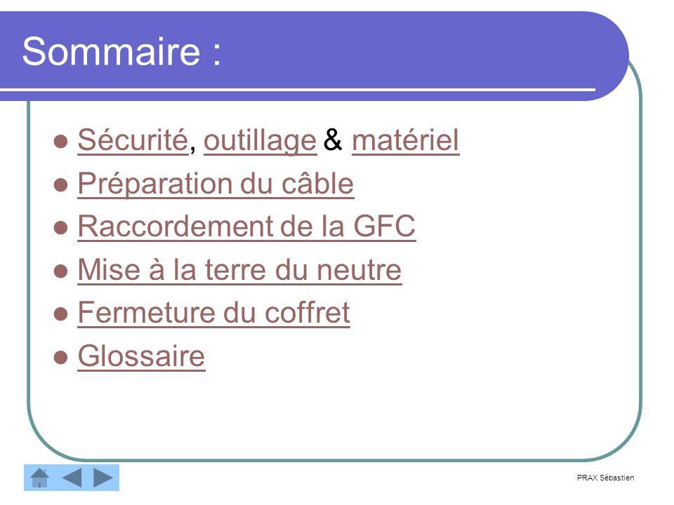 Sommaire : Sécurité, outillage & matériel Sécuritéoutillagematériel Préparation du câble Raccordement de la GFC Mise à la terre du neutre Fermeture du