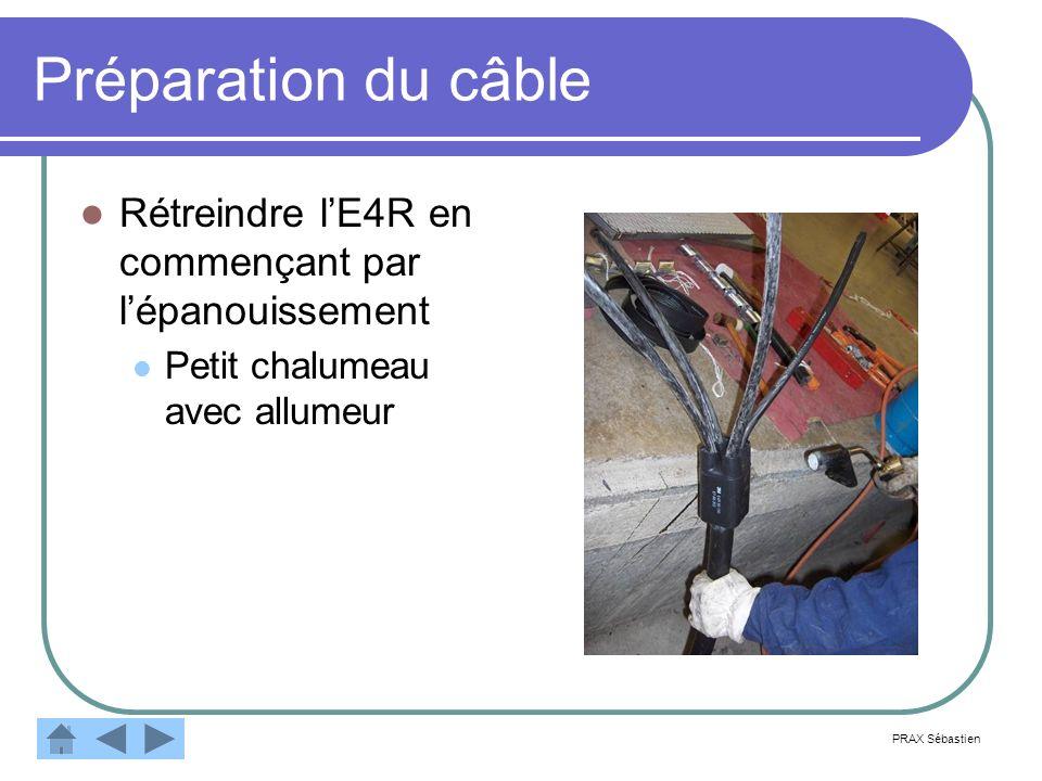 Préparation du câble Rétreindre lE4R en commençant par lépanouissement Petit chalumeau avec allumeur PRAX Sébastien