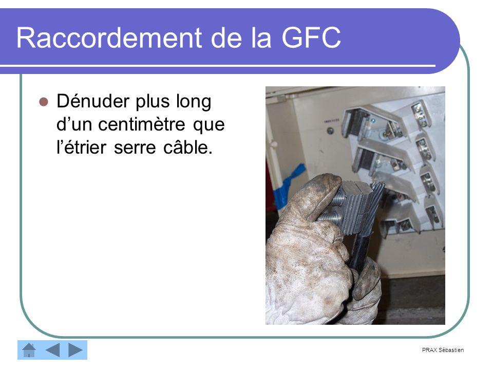 Raccordement de la GFC Dénuder plus long dun centimètre que létrier serre câble. PRAX Sébastien