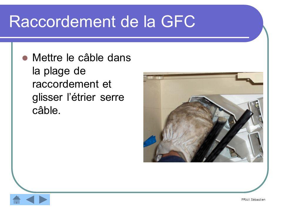 Raccordement de la GFC Mettre le câble dans la plage de raccordement et glisser létrier serre câble. PRAX Sébastien