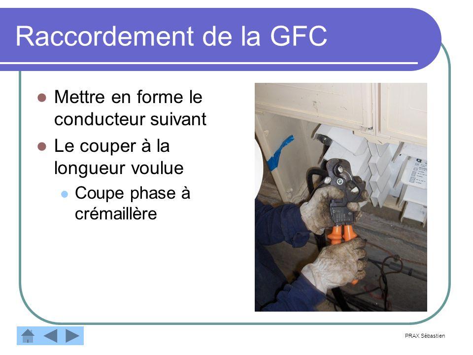 Raccordement de la GFC Mettre en forme le conducteur suivant Le couper à la longueur voulue Coupe phase à crémaillère PRAX Sébastien