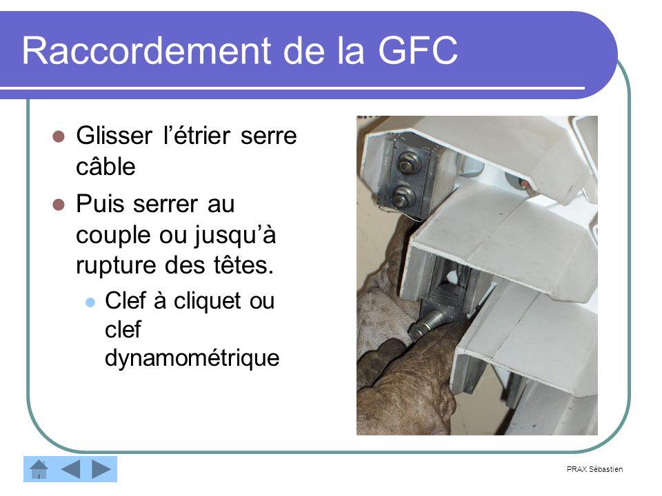 Raccordement de la GFC Glisser létrier serre câble Puis serrer au couple ou jusquà rupture des têtes. Clef à cliquet ou clef dynamométrique PRAX Sébas