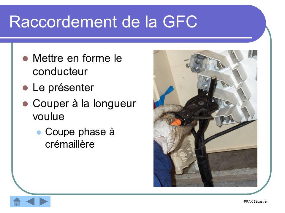 Raccordement de la GFC Mettre en forme le conducteur Le présenter Couper à la longueur voulue Coupe phase à crémaillère PRAX Sébastien