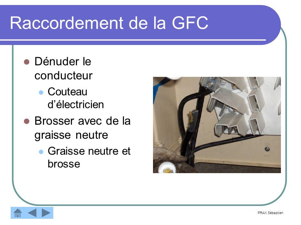 Raccordement de la GFC Dénuder le conducteur Couteau délectricien Brosser avec de la graisse neutre Graisse neutre et brosse PRAX Sébastien