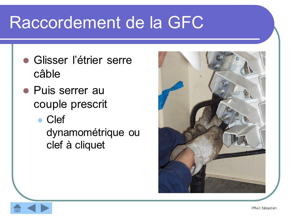 Raccordement de la GFC Glisser létrier serre câble Puis serrer au couple prescrit Clef dynamométrique ou clef à cliquet PRAX Sébastien