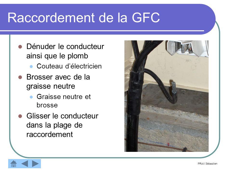 Raccordement de la GFC Dénuder le conducteur ainsi que le plomb Couteau délectricien Brosser avec de la graisse neutre Graisse neutre et brosse Glisse