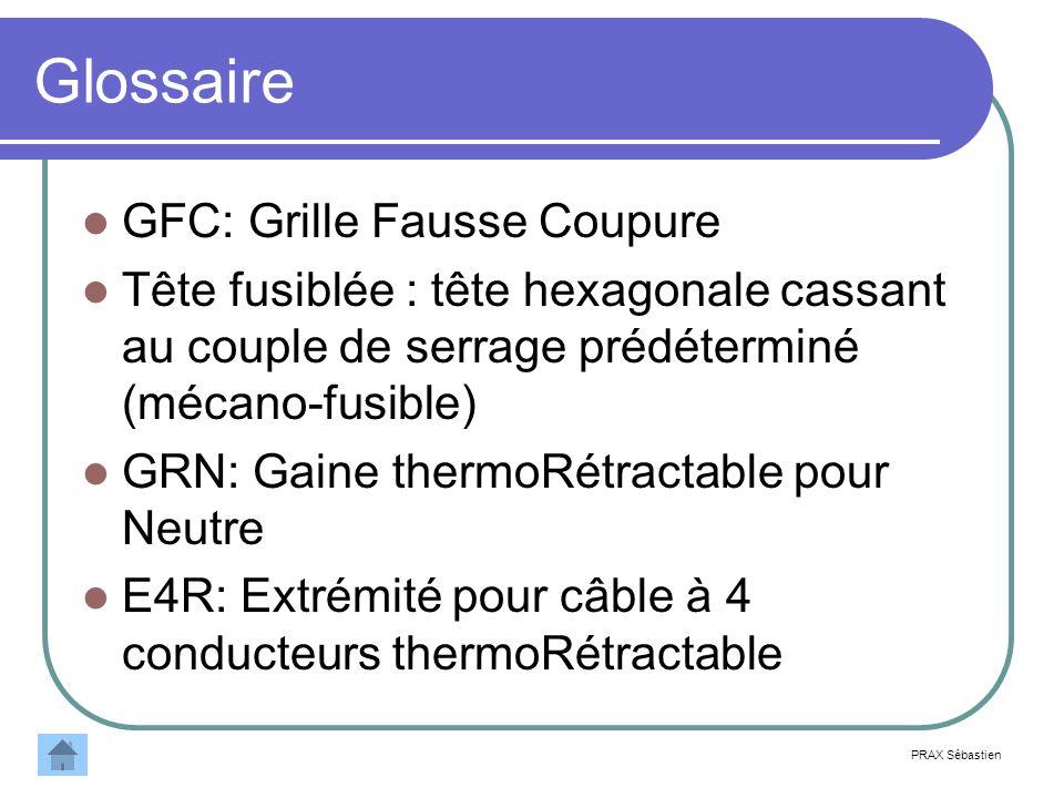 Glossaire GFC: Grille Fausse Coupure Tête fusiblée : tête hexagonale cassant au couple de serrage prédéterminé (mécano-fusible) GRN: Gaine thermoRétra
