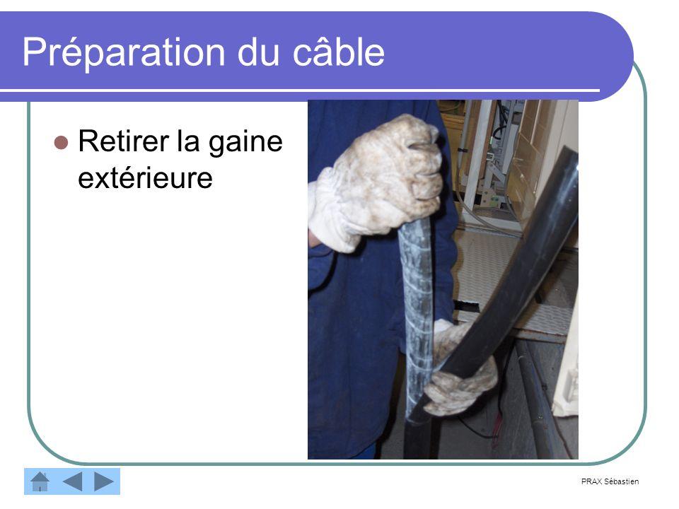 Préparation du câble Coupe du premier feuillard Paire de ciseaux Pince universelle Coupe du second feuillard Même outillage PRAX Sébastien