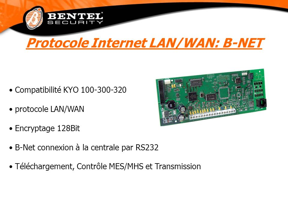 Compatibilité KYO 100-300-320 protocole LAN/WAN Encryptage 128Bit B-Net connexion à la centrale par RS232 Téléchargement, Contrôle MES/MHS et Transmis