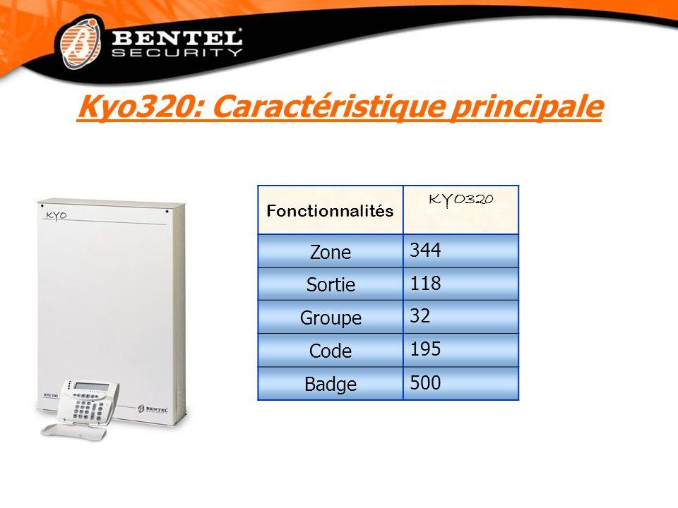 Fonctionnalités KYO320 Zone 344 Sortie 118 Groupe 32 Code 195 Badge 500 Kyo320: Caractéristique principale