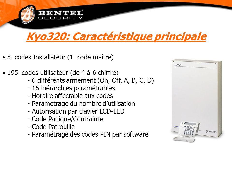 5 codes Installateur (1 code maître) 195 codes utilisateur (de 4 à 6 chiffre) - 6 différents armement (On, Off, A, B, C, D) - 16 hiérarchies paramétra