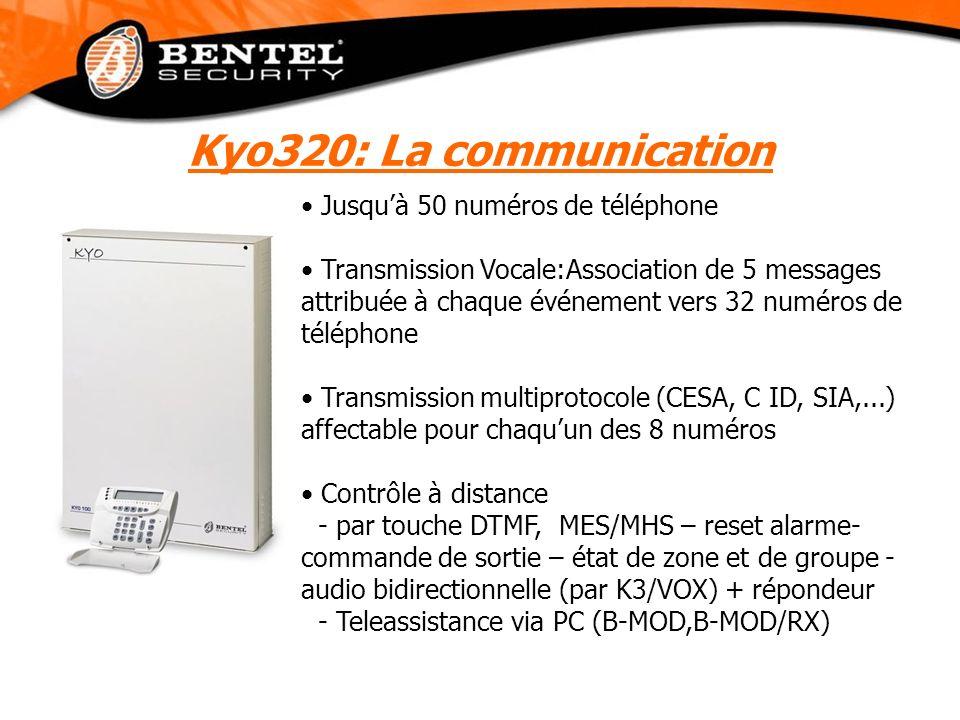 Jusquà 50 numéros de téléphone Transmission Vocale:Association de 5 messages attribuée à chaque événement vers 32 numéros de téléphone Transmission mu