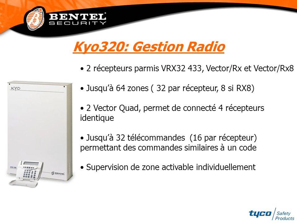 2 récepteurs parmis VRX32 433, Vector/Rx et Vector/Rx8 Jusquà 64 zones ( 32 par récepteur, 8 si RX8) 2 Vector Quad, permet de connecté 4 récepteurs id