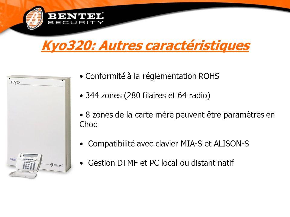 Conformité à la réglementation ROHS 344 zones (280 filaires et 64 radio) 8 zones de la carte mère peuvent être paramètres en Choc Compatibilité avec c