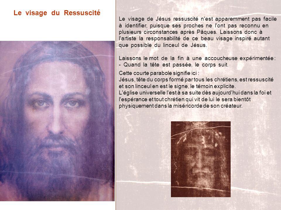 Le visage du Ressuscité Le visage de Jésus ressuscité n'est apparemment pas facile à identifier, puisque ses proches ne l'ont pas reconnu en plusieurs