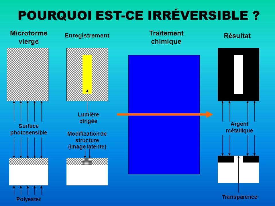 TRAITEMENT MICROGRAPHIQUE - consiste en un enchaînement inexorable - toute interruption ou mise en lumière avant achèvement provoque une destruction irrémédiable de l image latente - le traitement modifie l intégralité de la surface du support les zones ayant reçu de la lumière sont transformées en gélatine transparente les zones n ayant pas reçu de lumière sont transformée en une fine couche de métal les deux transformations sont réciproques - une microforme traitée n a plus aucune réceptivité ni sensibilité ni à la lumière ni au traitement micrographique