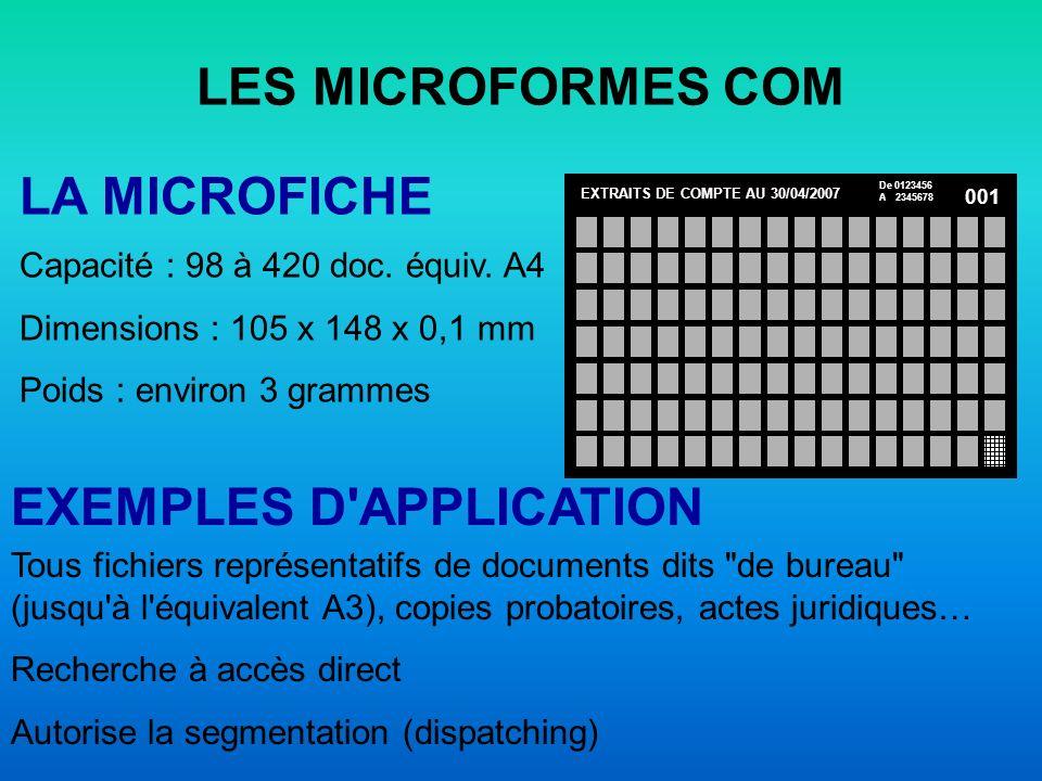 LES MICROFORMES COM LE MICROFILM 16 MM Capacité : 3000 à 6000 équiv.