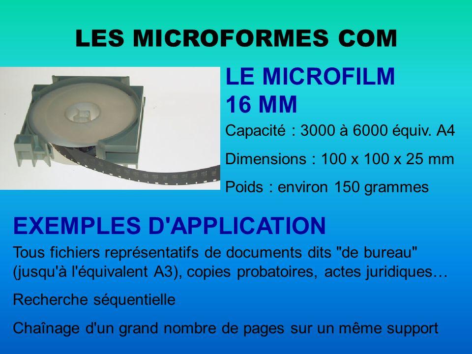 LES MICROFORMES COM LA CARTE À FENETRE Capacité : 1 doc.