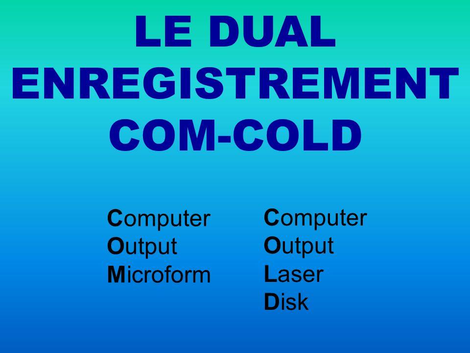 DUAL ENREGISTREMENT COM COLD Documents numériques 1 fichier, 2 sorties parallèles