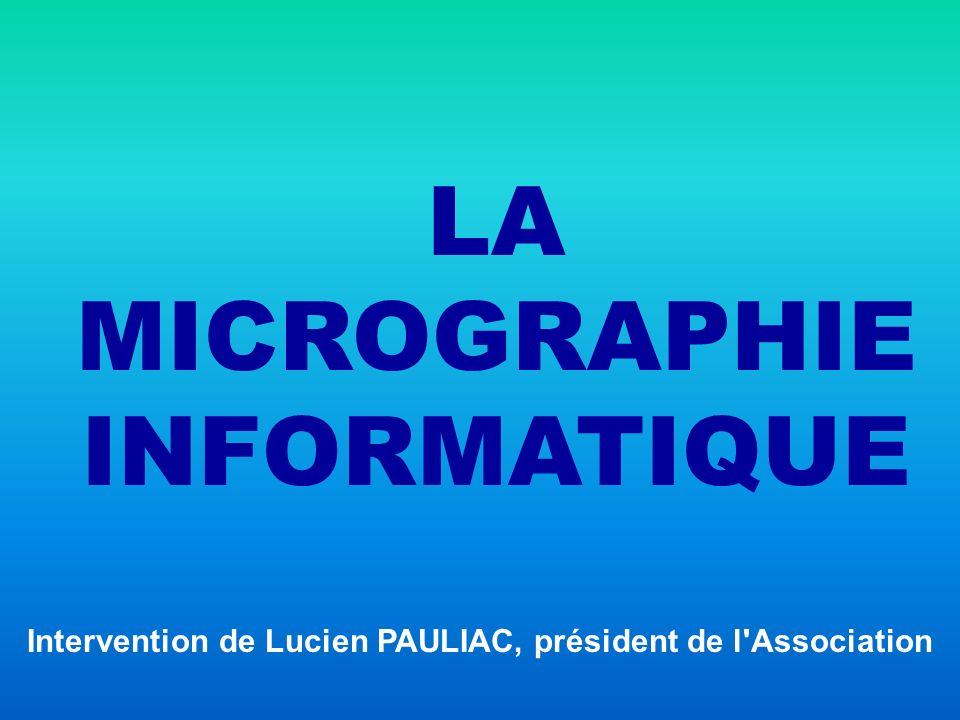 LA MICROGRAPHIE INFORMATIQUE Technique d enregistrement consistant à produire des documents miniaturisés (micro-images), directement à partir des données binaires issues d un ordinateur.