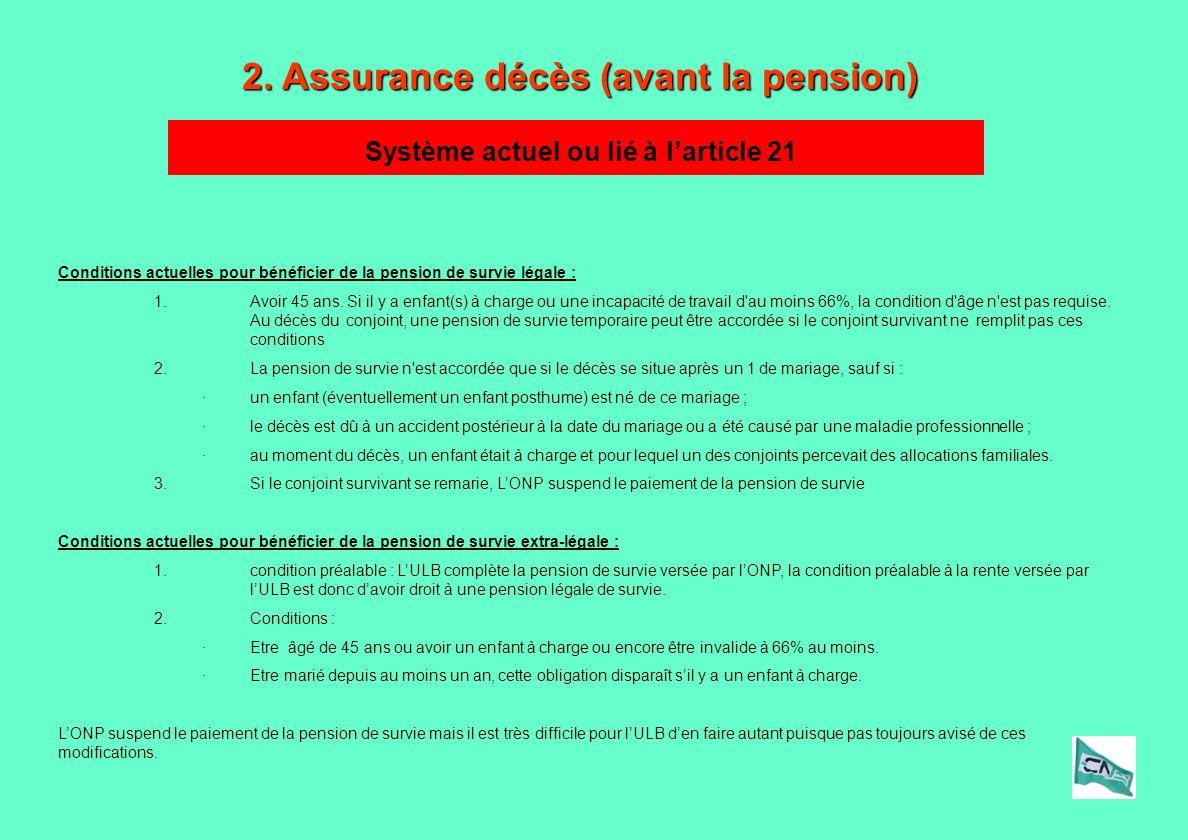2. Assurance décès (avant la pension) Conditions actuelles pour bénéficier de la pension de survie légale : 1.Avoir 45 ans. Si il y a enfant(s) à char