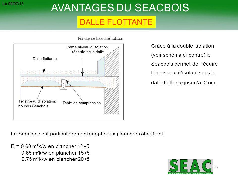10 AVANTAGES DU SEACBOIS DALLE FLOTTANTE Grâce à la double isolation (voir schéma ci-contre) le Seacbois permet de réduire lépaisseur disolant sous la