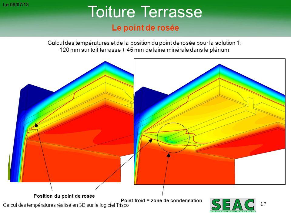 17 Toiture Terrasse Le point de rosée Calcul des températures et de la position du point de rosée pour la solution 1: 120 mm sur toit terrasse + 45 mm
