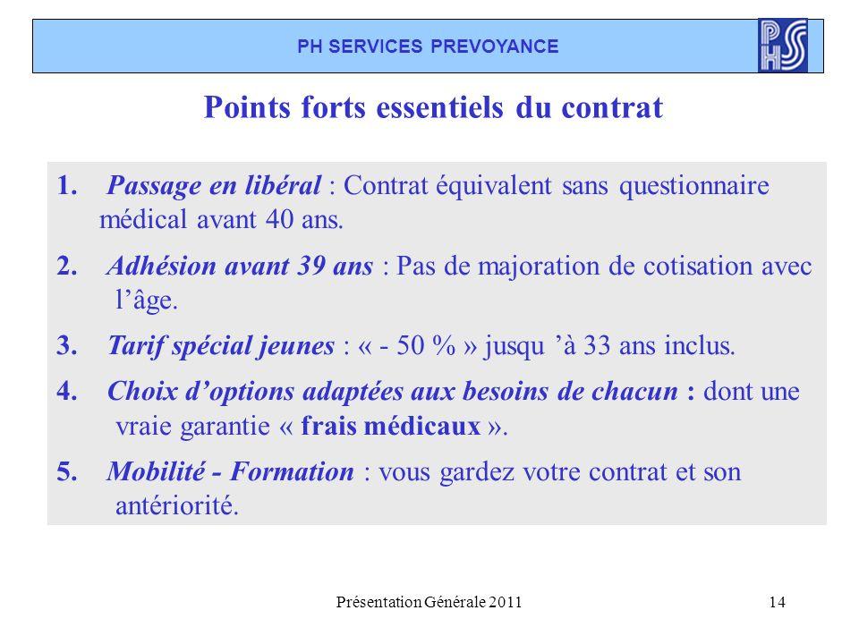 Présentation Générale 201114 1. Passage en libéral : Contrat équivalent sans questionnaire médical avant 40 ans. 2. Adhésion avant 39 ans : Pas de maj