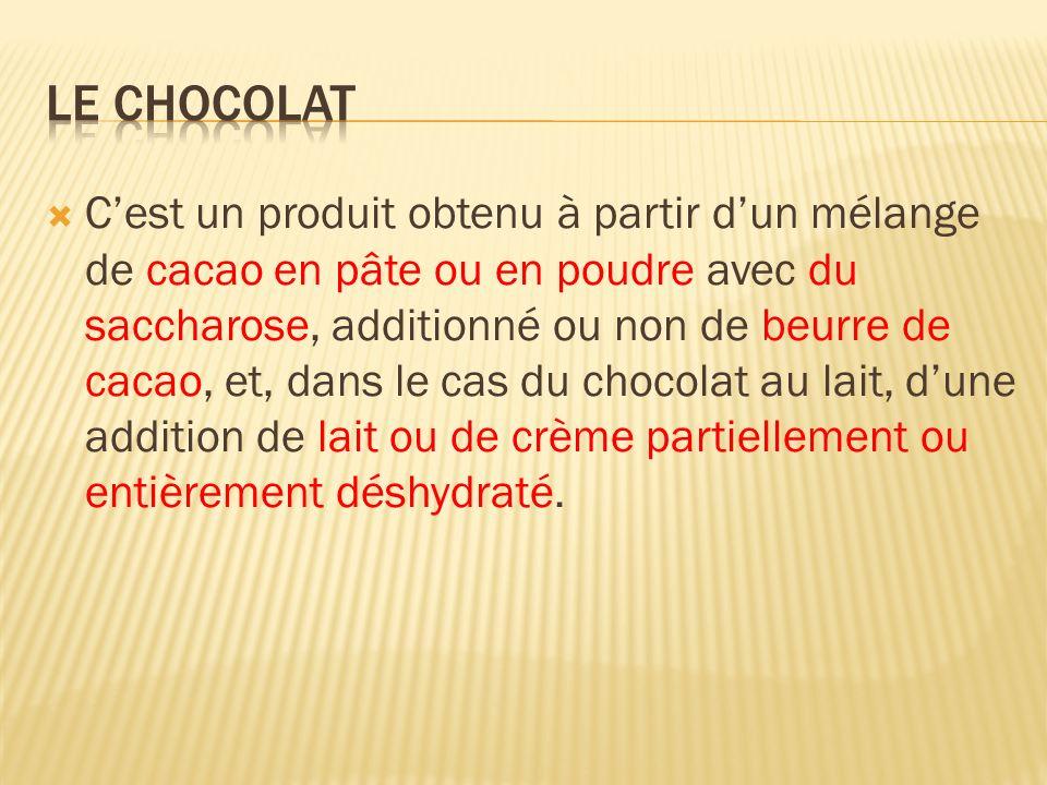 Cest un produit obtenu à partir dun mélange de cacao en pâte ou en poudre avec du saccharose, additionné ou non de beurre de cacao, et, dans le cas du
