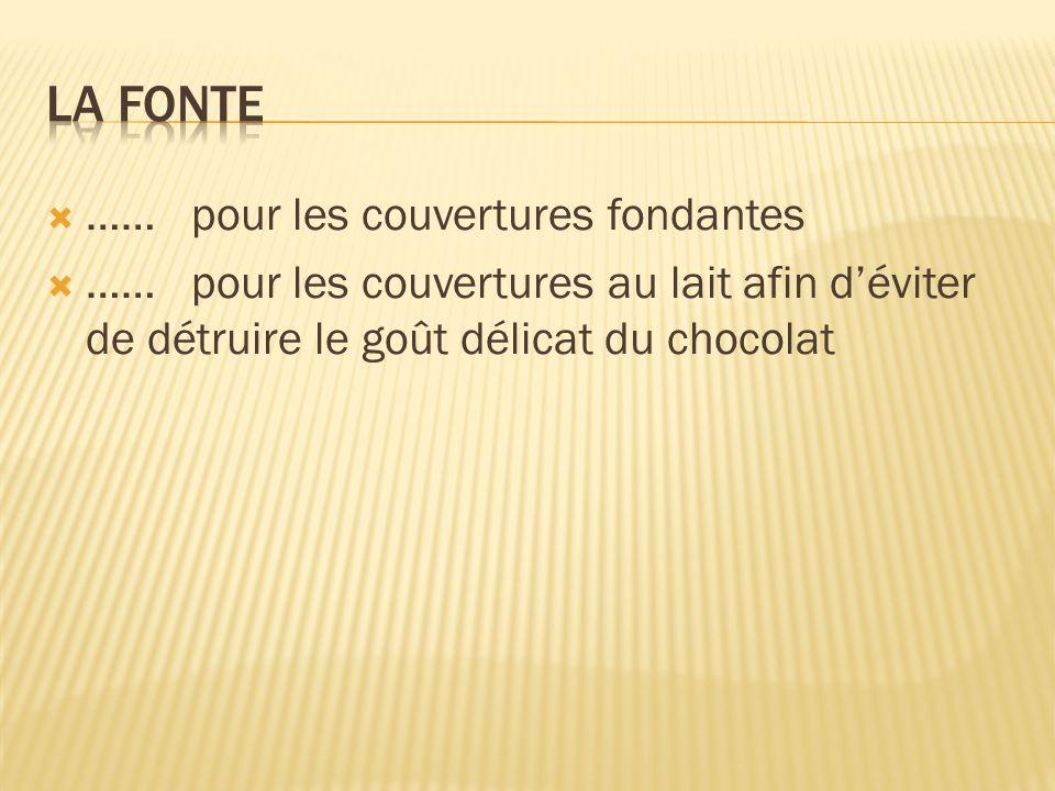 …… pour les couvertures fondantes …… pour les couvertures au lait afin déviter de détruire le goût délicat du chocolat