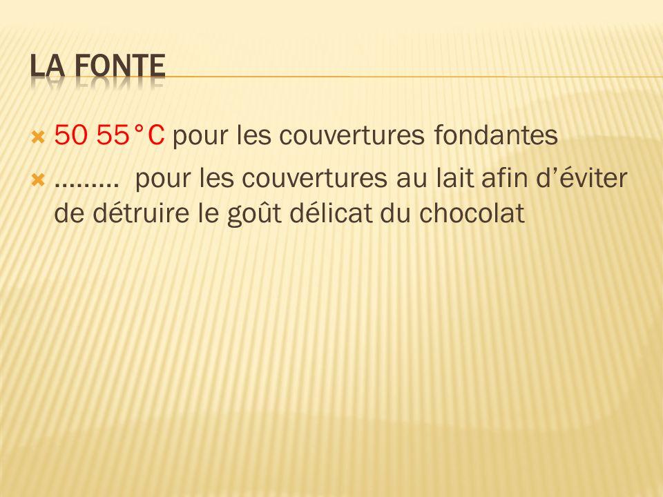 50 55°C pour les couvertures fondantes ……… pour les couvertures au lait afin déviter de détruire le goût délicat du chocolat