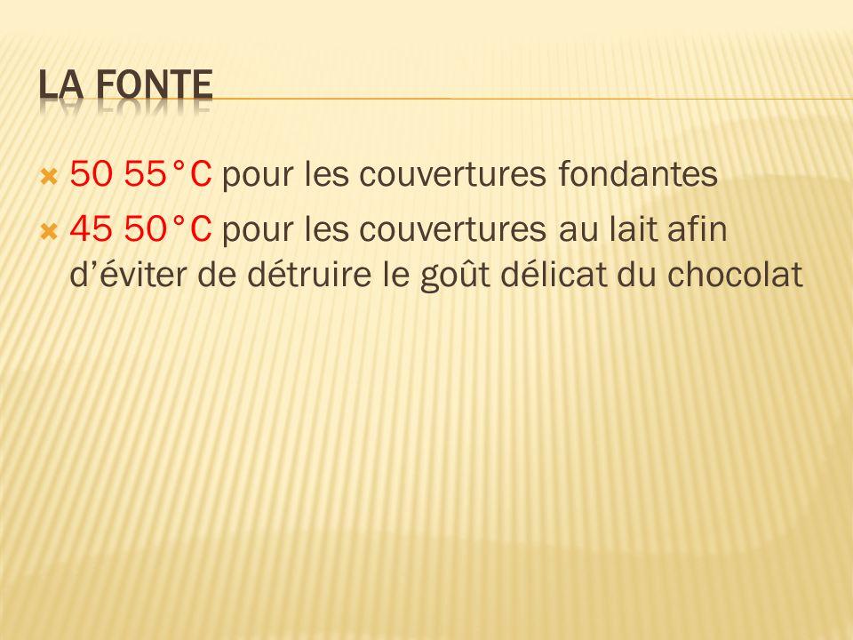 50 55°C pour les couvertures fondantes 45 50°C pour les couvertures au lait afin déviter de détruire le goût délicat du chocolat