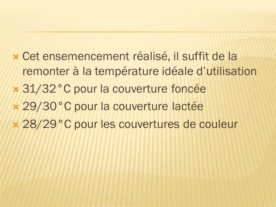 Cet ensemencement réalisé, il suffit de la remonter à la température idéale dutilisation 31/32°C pour la couverture foncée 29/30°C pour la couverture