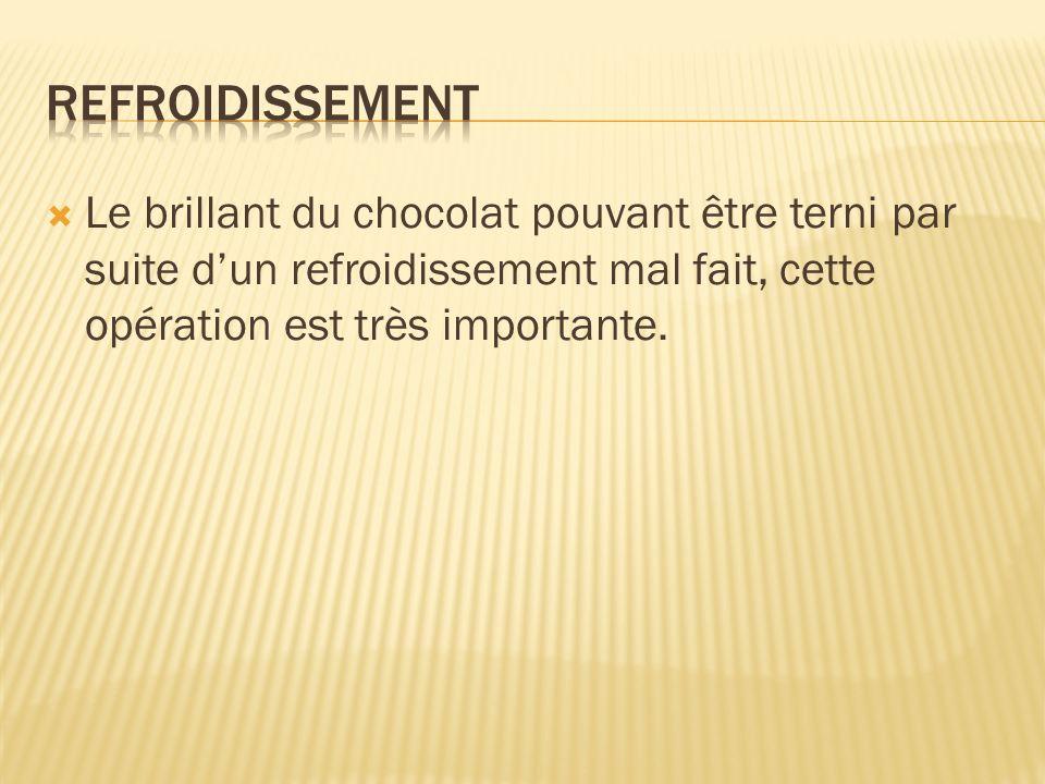 Le brillant du chocolat pouvant être terni par suite dun refroidissement mal fait, cette opération est très importante.